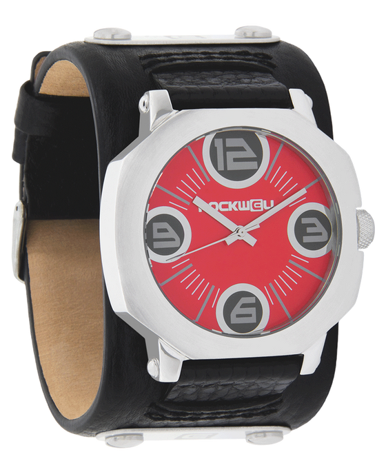 Assassin Silver Watch with Red Dial and Black Leather Band