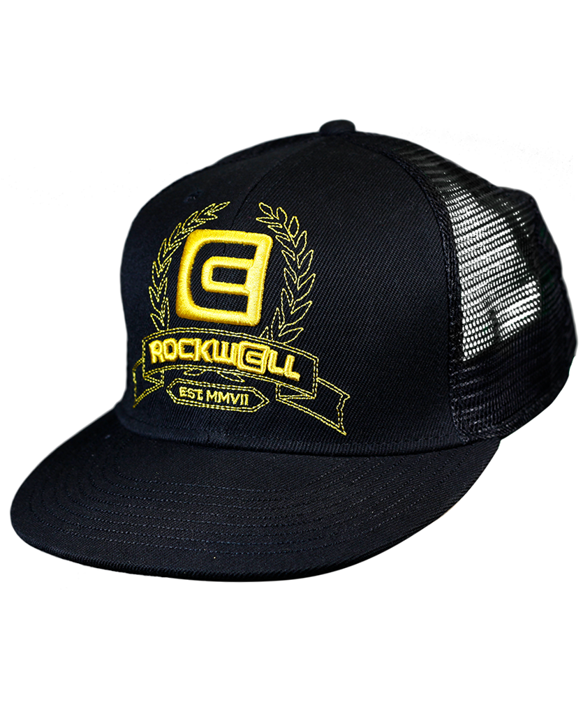 Snapback Trucker Hat Black/Gold Royal Logo mesh back
