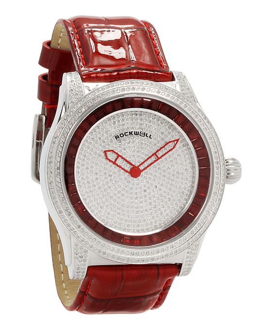 The Ruby Rivers red leather band with ruby stones in the dial- Watch
