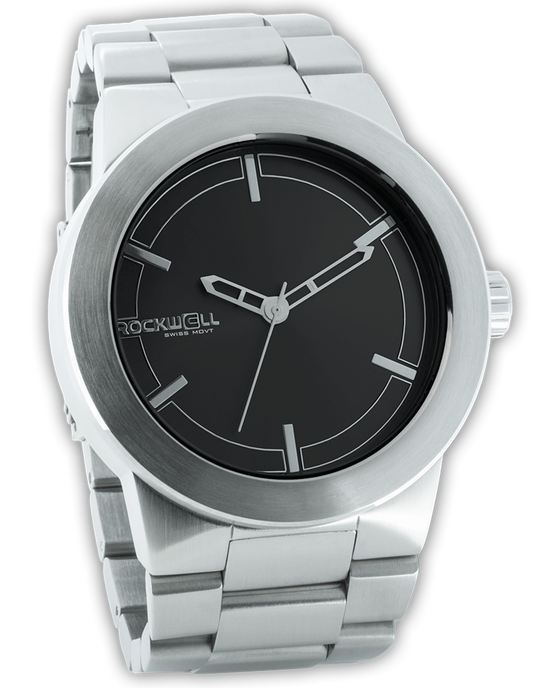 Silver Maverick Watch with Black Dial