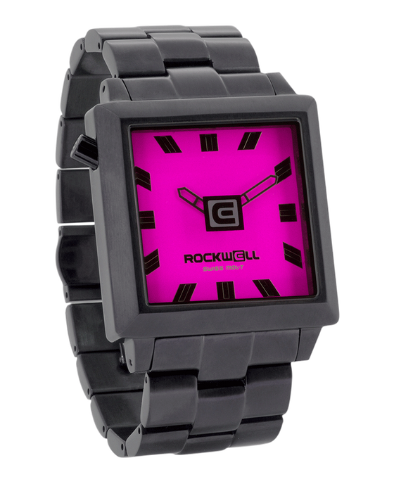 gunmetal and pink 40mm square watch