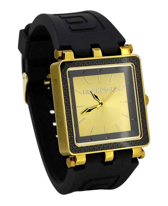 CF Lite Black/Gold Dial with Black silicone band - Square Watch)