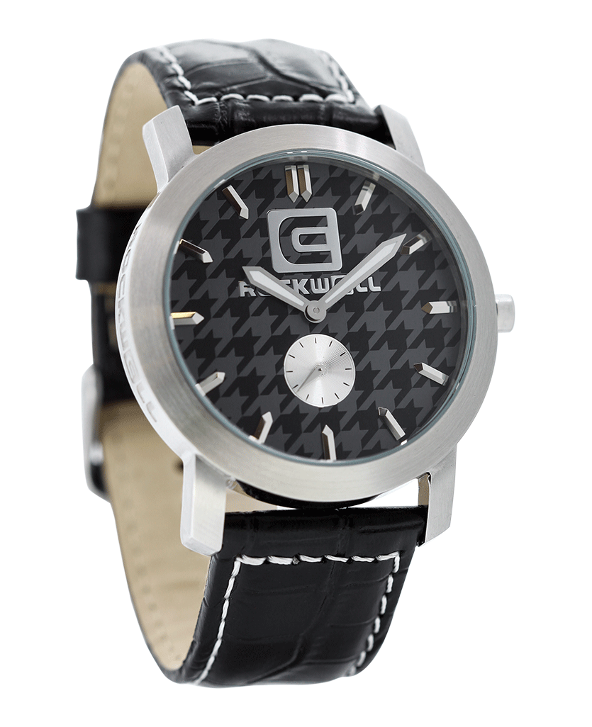 Cartel Houndstooth Black Gray Dial with Black Leather Band Watch