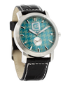 Cartel Mint Houndstooth dial with Black Leather band - Watch