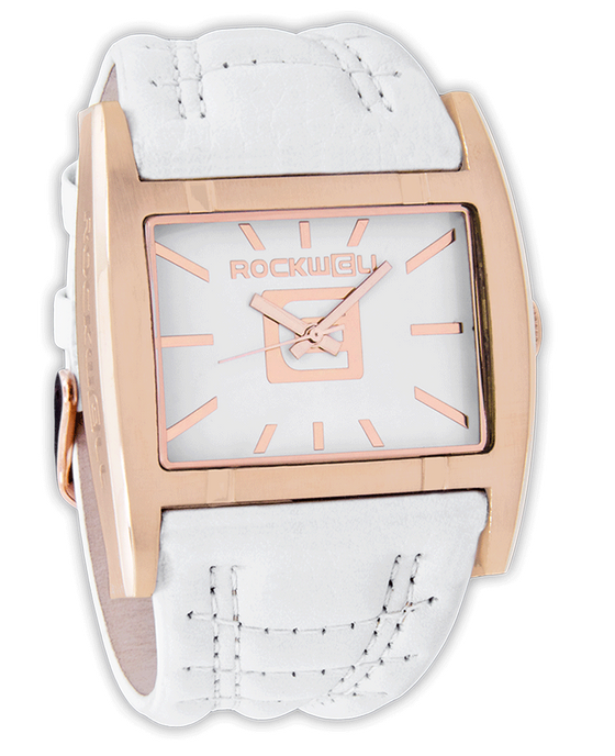 Rose Gold Apostle with White Dial and White Leather Band