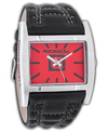 Silver Apostle with Red Dial and Black Leather Band