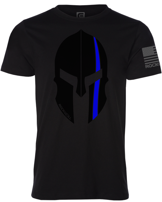Thin Blue Line Spartan Helmet Rockwell Black Shirt Front