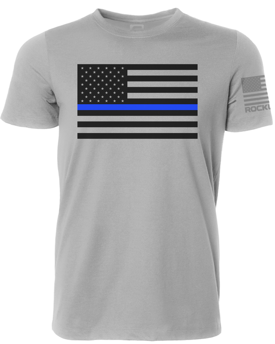 Thin Blue Line American Flag Rockwell Gray Shirt Front