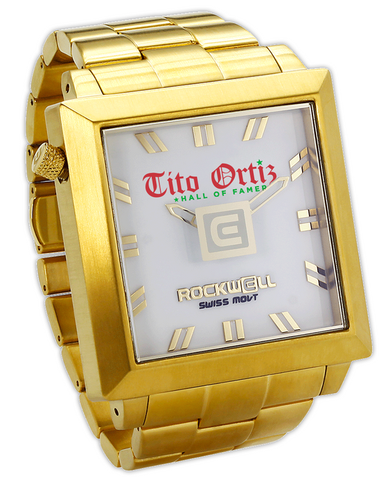 50mm square Gold with white dial Tito Ortiz Special Edition