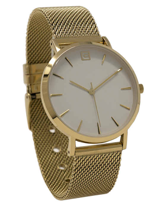 The Voyager - Gold Mesh band and White dial watch