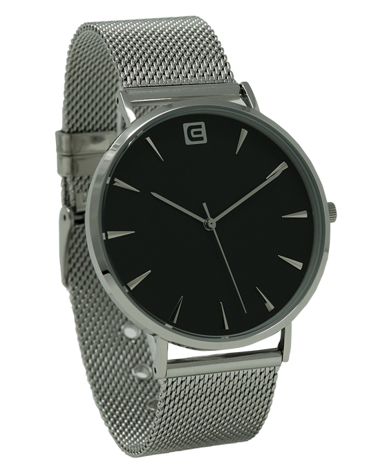 The Voyager - Silver Mesh band with black dial watch