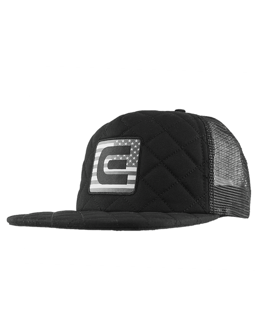 No Retreat, Quilted Trucker - Black