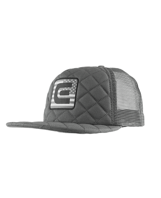 No Retreat Flag, Quilted Trucker Hat - Grey