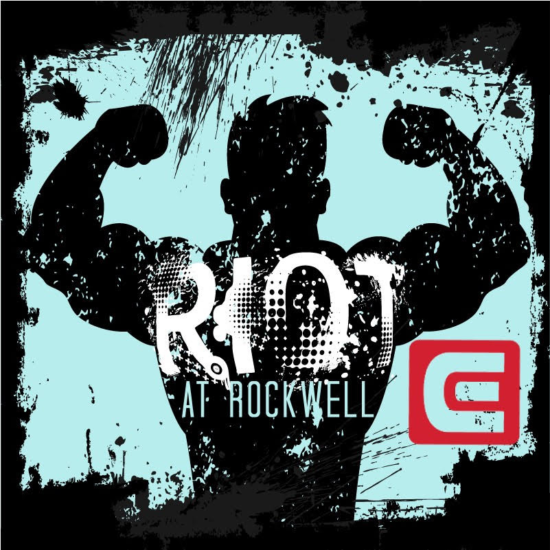 Buff Stud with the words 'Riot At Rockwell' on his Chest