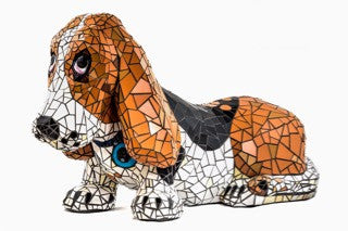 Blue Collar Hound - Hand carved Mosaic Sculpture