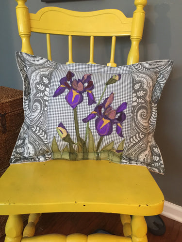 Iris on Gray - Applique Pillow