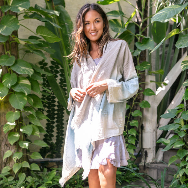 Lost And Found By J Friedman, beachwear, resort wear, bohemian, beach, travel, beautiful, comfortable, 100% cotton, poncho, top, blue, grey, gray