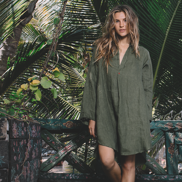 Lost And Found By J Friedman, beachwear, resort wear, bohemian, beach, travel, beautiful, comfort, dress, long sleeve, linen, knee-length, green