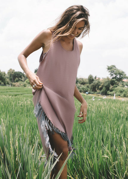 Mauve pink, grey fringe, cotton hemp, dress, lost and found by j friedman