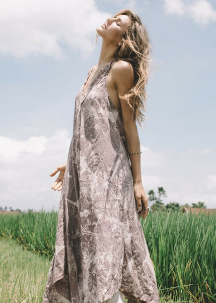 Lost And Found By J Friedman, beachwear, resort wear, bohemian, beach, travel, beautiful, comfort, dress, cotton, pink leaf print, sun dress, v-neck, floor length