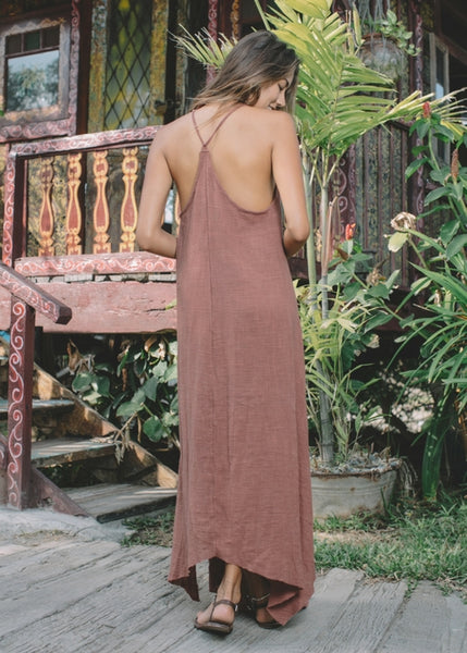 Lost And Found By J Friedman, beachwear, resort wear, bohemian, beach, travel, beautiful, comfort, dress, cotton, rust red, sun dress, v-neck, floor length