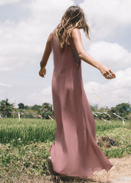 SEMINYAK DRESS IN RUST WITH GILI BANDEAU