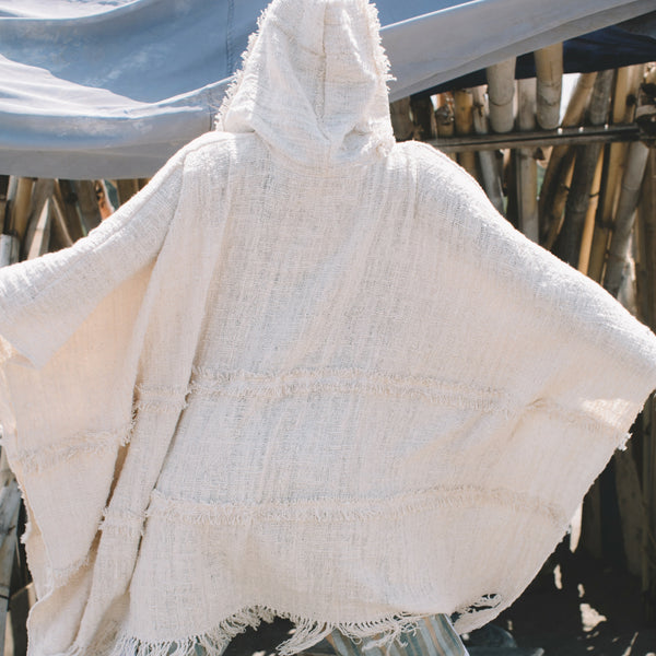 Lost And Found By J Friedman, beachwear, resort wear, bohemian, beach, travel, beautiful, comfort, poncho, cotton, hooded, cream, ivory
