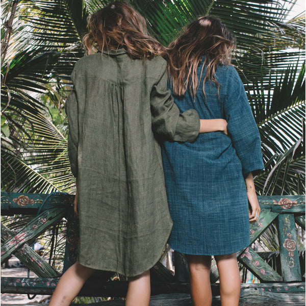 Lost And Found By J Friedman, beachwear, resort wear, bohemian, beach, travel, beautiful, comfort, dress, long sleeve, linen, knee-length, blue