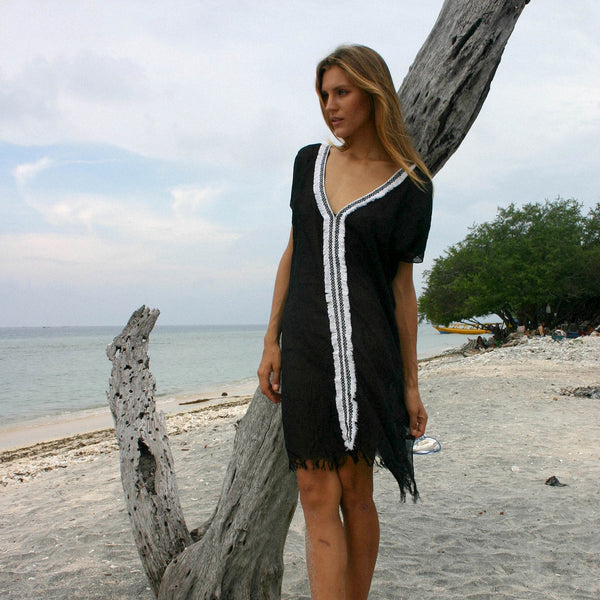 Lost And Found By J Friedman, beachwear, resort wear, bohemian, beach, travel, beautiful, comfort, cover-up, dress, sundress, black, v-neck, swim, sheer, light weight, feather weight