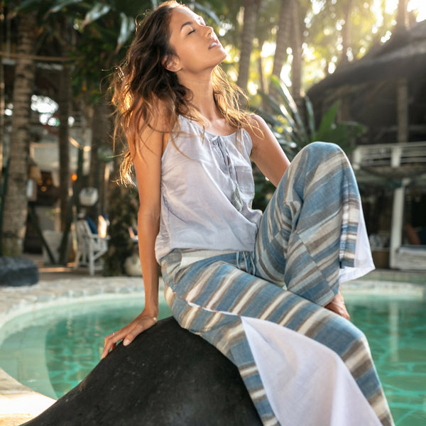 Bali Pant, blue and white with grey, lost and found by j friedman, bell bottom