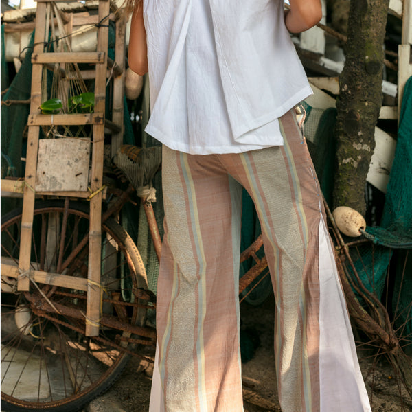 Bali Pant, pink and brown, nude, lost and found by j friedman, bell bottom