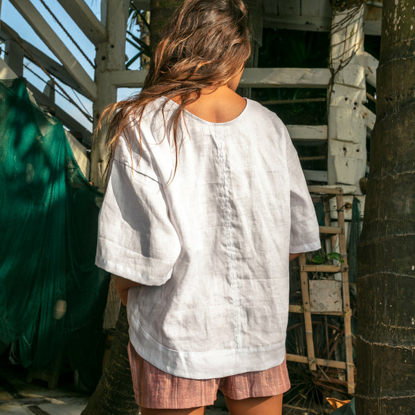 Lost And Found By J Friedman, beachwear, resort wear, bohemian, beach, travel, beautiful, comfort, shirt, linen, white, v-neck