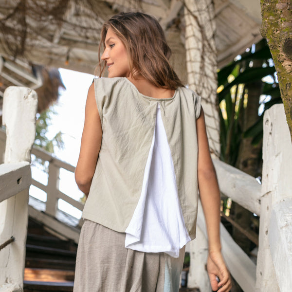 Lost And Found By J Friedman, beachwear, resort wear, bohemian, beach, travel, beautiful, comfort, shirt, cotton, top, tank, sleeveless clay, grey, gray