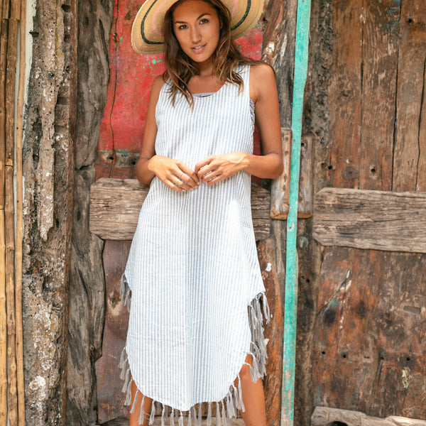 Lost And Found By J Friedman, beachwear, resort wear, bohemian, beach, travel, beautiful, comfort, dress, stripes, white and blue, tassels