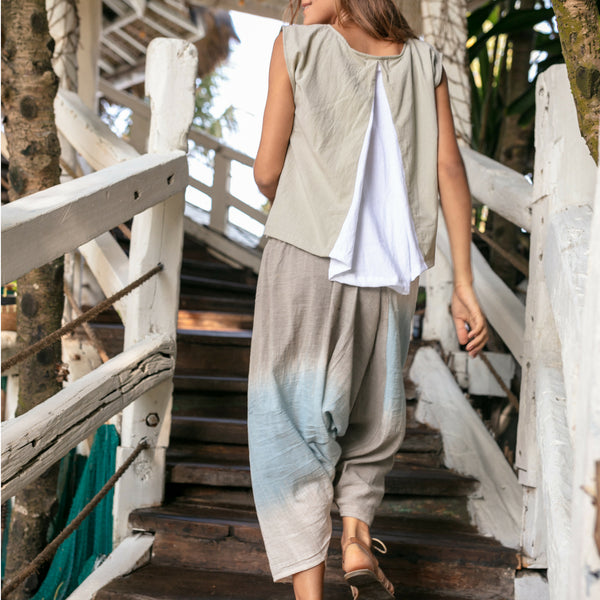 Lost And Found By J Friedman, beachwear, resort wear, bohemian, beach, travel, beautiful, comfort, shirt, cotton, bottom, pants, blue, white, grey, gray, cloud