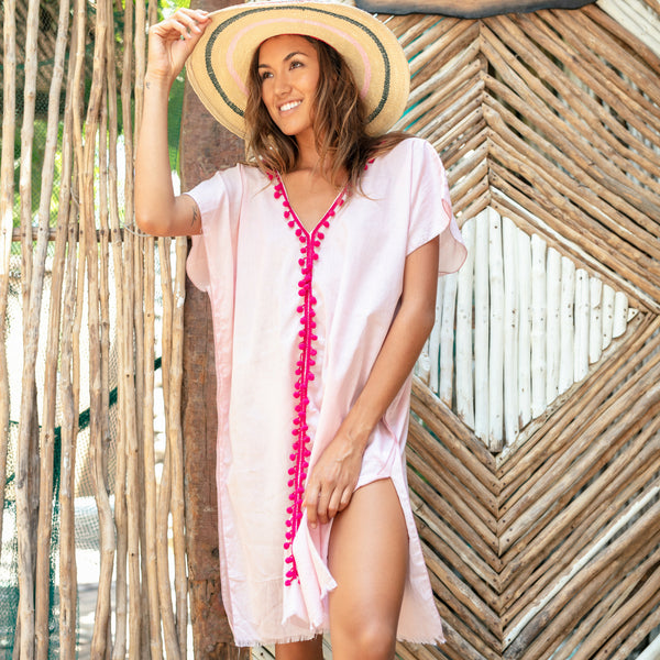Lost And Found By J Friedman, beachwear, resort wear, bohemian, beach, travel, beautiful, comfort, shirt, cotton, dress, coverup, pink, magenta