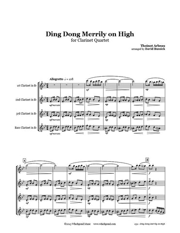 Ding Dong Merrily on High Clarinet Quartet