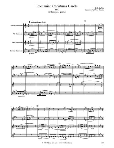 Bartók Romanian Christmas Carols Set #2 Sax Quartet