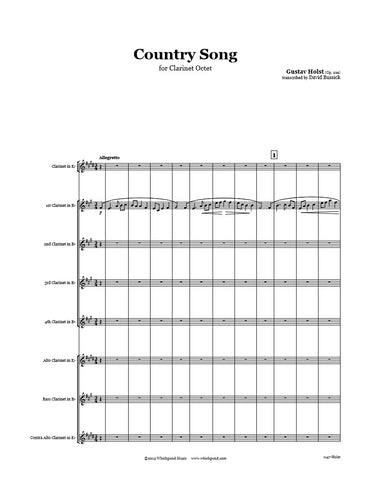 Holst Country Song Clarinet Choir
