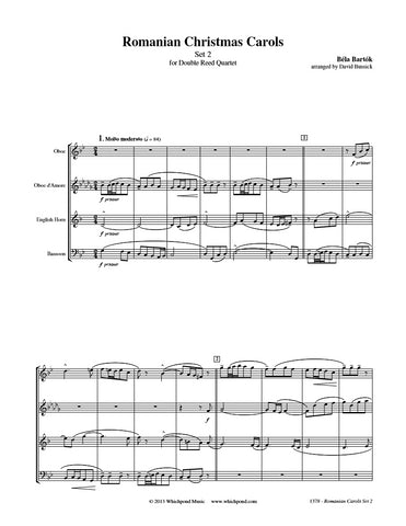 Bartók Romanian Christmas Carols Set #2 Double Reed Quartet
