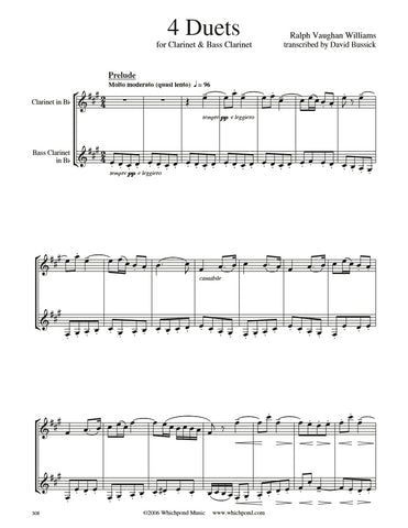 Vaughan Williams 4 Pieces Clarinet Duet