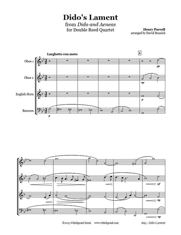 Purcell Dido's Lament Double Reed Quartet