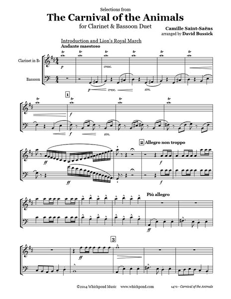 Carnival of the Animals Clarinet/Bassoon Duet