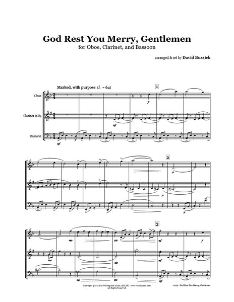 God Rest You Merry Gentlemen Oboe/Clarinet/Bassoon Trio