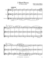 Vaughan Williams 3 Short Pieces Flute/Clarinet Trio