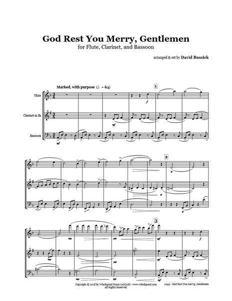 God Rest You Merry Gentlemen Flute/Clarinet/Bassoon Trio