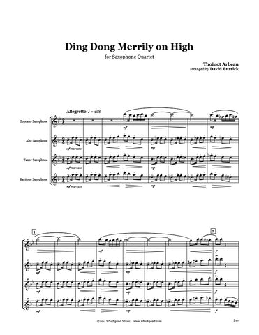 Ding Dong Merrily on High Saxophone Quartet