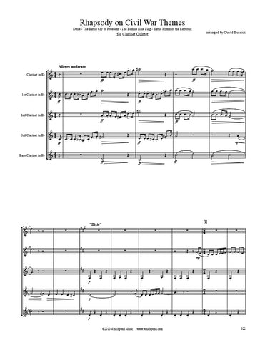 Rhapsody on Civil War Themes Clarinet Quintet