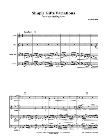 Simple Gifts Variations Wind Quartet