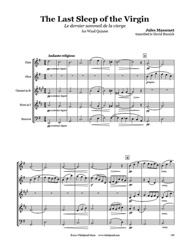 Massenet Last Sleep Of The Virgin Wind Quintet